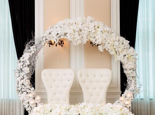Flower centerpieces backdrop